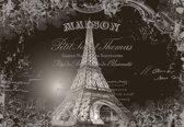 Fotobehang Paris Eiffel Tower Vintage Effect | XXL - 312cm x 219cm | 130g/m2 Vlies