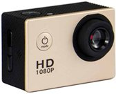 HAMTOD HF40 Sportcamera met 30 m onderwaterbehuizing, Generalplus 6624, 2,0 inch LCD-scherm (goud)