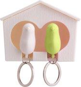 Ditto – Vogelhuis met 2 Vogel Sleutelhangers Wit - Groen / Samenwonen Cadeau / Muurdecoratie