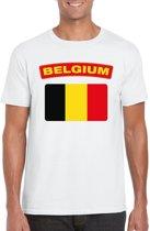 Belgie t-shirt met Belgische vlag wit heren M