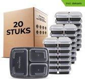 Meal Prep Bakjes 20 stuks - 3 compartimenten - BPA vrij - Mealprep Container - Box - Fitcrafters