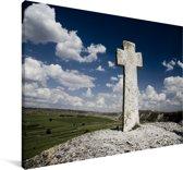 Oud christelijk kruis van Orheiul Vechi in het Europese Moldavië Canvas 120x80 cm - Foto print op Canvas schilderij (Wanddecoratie woonkamer / slaapkamer)