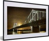Foto in lijst - De brug van Krefeld in Duitsland fotolijst zwart met witte passe-partout 60x40 cm - Poster in lijst (Wanddecoratie woonkamer / slaapkamer)
