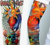 Elastische Full Arm Sleeve / Kous Tattoo: Brandende Zon