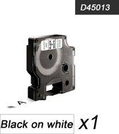 1x Compatible voor Dymo 45013 Standard Label Tape - Zwart op Wit - 12mm
