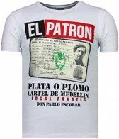 Local Fanatic El Patron Narcos Billionaire - Rhinestone T-shirt - Wit - Maten: S