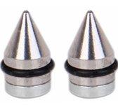 Magneet oorbellen- Punt- zilverkleurig- RVS- 6 mm