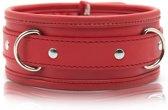 Banoch - Collar & leash Red - Halsband en Riem - Rood met zilver - bdsm
