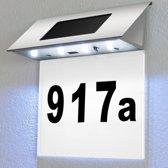 Huisnummer, ledverlichting, zonne energie, witte achtergrond