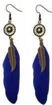 Fako Bijoux® - Oorbellen - Wiel Met Veren - Blauw