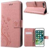 Book Case Hoesje Bloemen iPhone 8 Plus / 7 Plus - Pink