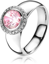 ZINZI zilveren ring rond roze ZIR1244R