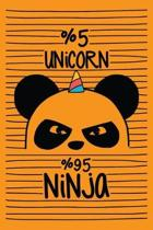 5% Unicorn 95% Ninja: Cute Unicorn Arts Notebook Coloring Book Unicorn activity book for kids ages 4-8 Journal Book with Coloring Pages Insi