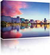Sound Art - Canvas + Bluetooth Speaker City Reflection At Sunset (23 x 28cm)