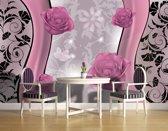 Fotobehang Bloemen | Roze, Grijs | 152,5x104cm