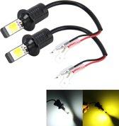 2 STKS H3 DC 12 V 6 W 6000 K + 3500 K Auto LED Mistlampen met dubbelzijdige COB Lampen (Wit Licht + Geel Licht)