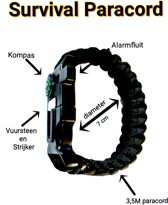 Zwart Paracord Survival Armband Kompas