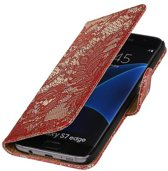 Samsung Galaxy S7 Edge Hoesje Bloem Bookstyle Rood