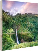 Waterval bij zonsondergang Hout 60x40 cm - Foto print op Hout (Wanddecoratie)