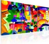 Schilderij - Kleurrijke Stad , 3 luik