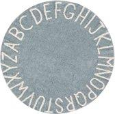 Vloerkleed kinderkamer Round ABC Vintage Blue-Natural