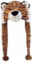Pluche tijger muts met flapjes 18 cm - voor kinderen