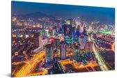 Gekleurde wolkenkrabbers in Qingdao in de nacht Aluminium 120x80 cm - Foto print op Aluminium (metaal wanddecoratie)