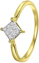 Lucardi - Diamond Luxury - 14 Karaat geelgouden ring met diamant