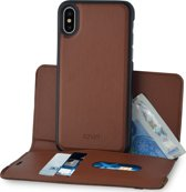 Azuri wallet case with removable magnetic cover - camel - voor Apple iPhone X