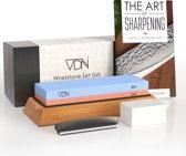 Luxe Dubbelzijdige Wetsteen Slijpsteen set 240 800 van Edelkorund (18x6x3 CM) met E-book voor messen e.d. van VDN