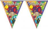 Leeftijd versiering vlaggenlijn / vlaggetjes / slinger Abraham 50 jaar geworden thema 10 meter