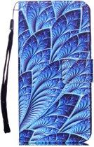 Shop4 - iPhone Xr Hoesje - Wallet Case Bladeren Blauw