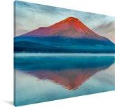 De Fuji verlicht door de ochtendzon in het Aziatische Japan Canvas 60x40 cm - Foto print op Canvas schilderij (Wanddecoratie woonkamer / slaapkamer)