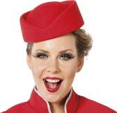 Hoed stewardess wolvilt rood