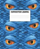 Composition Journal: Monster Lizard Themed Halloween Wide Ruled Notebook Lined School Journal - 100 Pages - 7.5 x 9.25'' - School Subject Bo