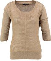 Vila joy katoenen dark beige trui met gouddraad 3/4 mouw - Maat XL