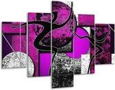 Glasschilderij Abstract | Paars, Zwart, Wit | 100x70cm 5Luik | Foto print op Glas |  F003483