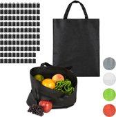 relaxdays 100 x boodschappentas - stoffen tas - effen gekleurd opvouwbaar - 50x40 – zwart