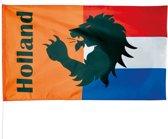 Vlag van Oranje Rood/Wit/Blauw/Oranje met Leeuw