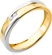 Majestine Solitair Ring 14 Karaat Bicolor Geel/Witgoud (585) met Diamant 0.03ct maat 52