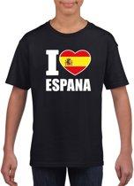 Zwart I love Espana supporter shirt kinderen - Spanje shirt jongens en meisjes M (134-140)
