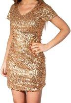 Gouden glitter pailletten disco jurkje dames - Gouden glitter carnaval/ verkleed kleding S/M (36-40)