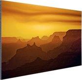 Zonsondergang over Grand Canyon Aluminium 180x120 - XXL cm - Foto print op Aluminium (metaal wanddecoratie)
