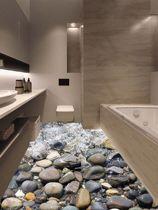 Stenen 3D Sticker | Vloer | Driedimensionaal | Water | Rotsen | Decoratie | Vloerstickers | Badkamer | Modern | Grijs