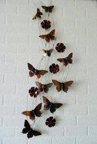 Metalen wanddecoratie met vlinders en bloemen - rood bordeaux bruin zwart zilver - 50 x 130 cm