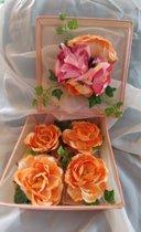 Beeld Mandjes Pioen rozen set van 5 stuks Perzik