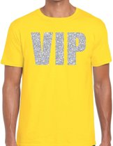 VIP zilver glitter tekst t-shirt geel voor heren 2XL