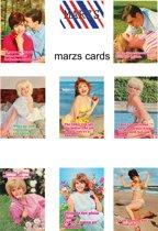 2 x kaartensetje 6 st. Retrokaarten