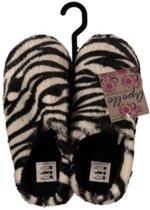 Instap sloffen/pantoffels zebra print voor dames - Zwart/witte slippers voor dames 37-38