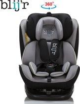 Blij'r BAS Kinder autostoel - 360 graden draaibaar, Isofix - Alle gewichtsklasse inclusief zonneklep - Grijs/Zwart